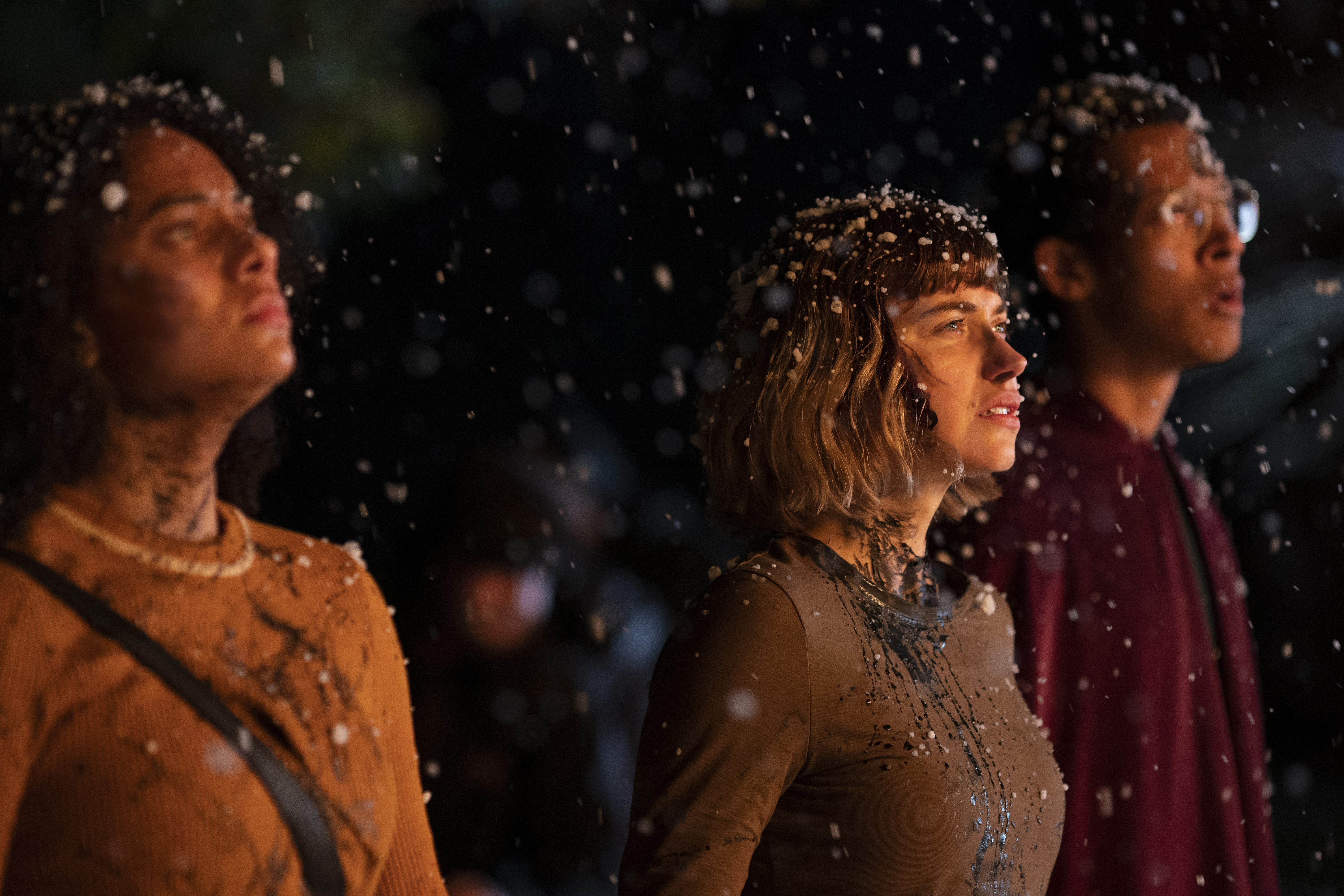 """(from left) Kris (Aleyse Shannon), Riley (Imogen Poots) and Landon (Caleb Eberhardt) in """"Black Christmas,"""" co-written and directed by Sophia Takal."""