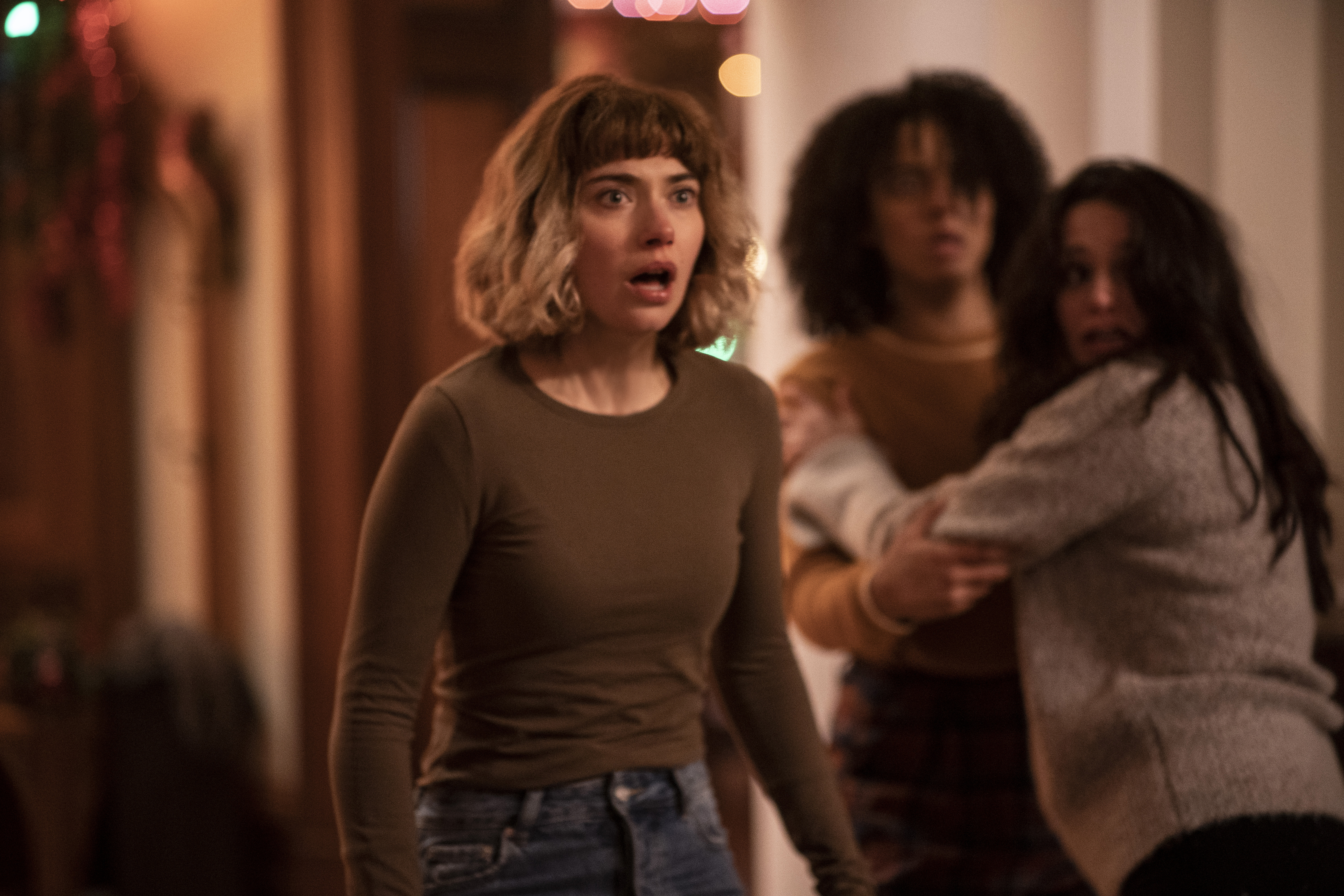 """(from left) Riley (Imogen Poots), Kris (Aleyse Shannon) and Marty (Lily Donoghue) in """"Black Christmas,"""" co-written and directed by Sophia Takal."""