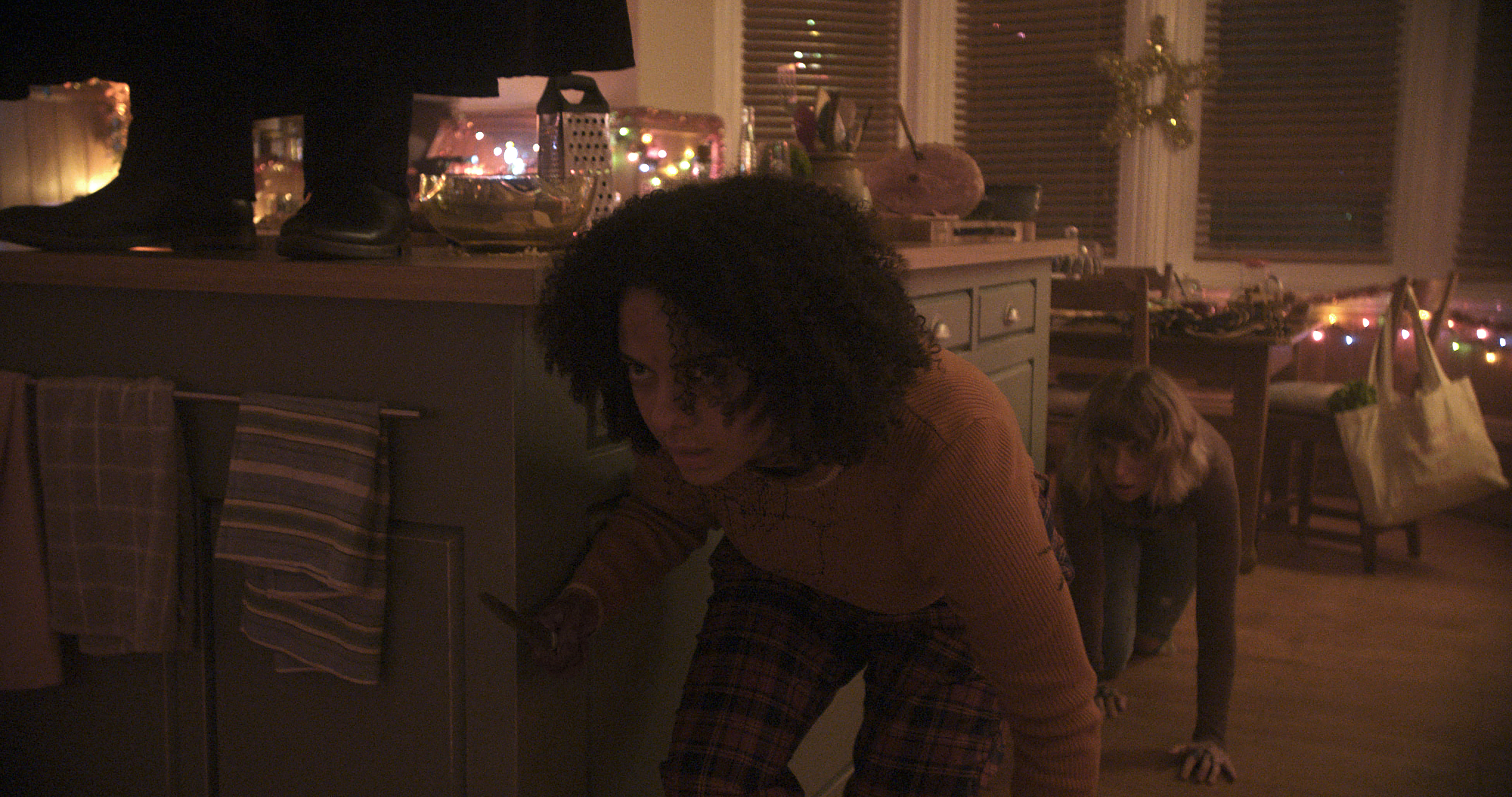 """(from left) Kris (Aleyse Shannon) and Riley (Imogen Poots) in """"Black Christmas,"""" co-written and directed by Sophia Takal."""